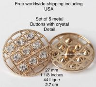 Crystal buttons, Designer crystal buttons, Gold metal. Free worldwide shipping (2) (3) (4) (5) (7)